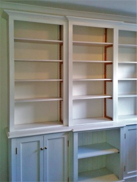 Georgian style Bookcase with adjustable shelves & cupboards made for a private house in Troutbeck.
